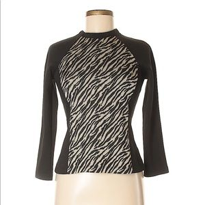 Forever 21 long sleeve black zebra print top M